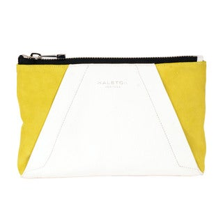 Halston Yellow Leather Colorblock Clutch