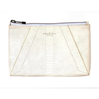 Halston Snakeskin Textured Leather Clutch