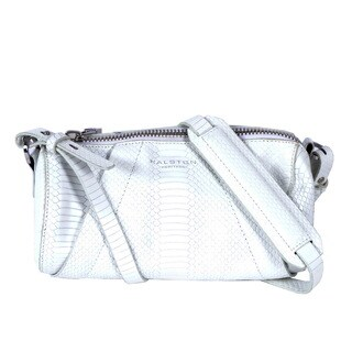 Halston White Leather Barrel Handbag