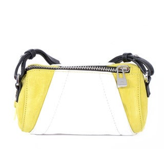 Halston Leather Yellow/ White Barrel Handbag