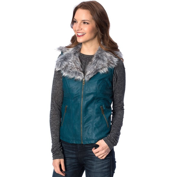 Women's Removable Faux Fur Collar Faux Leather Vest