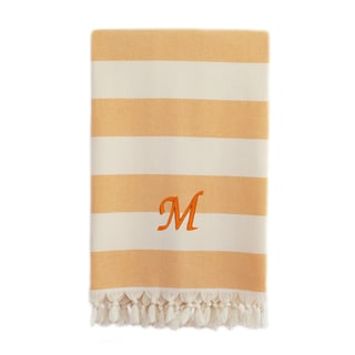Authentic Cabana Stripe Pestemal Fouta Melon Orange and Cream Original Turkish Cotton Bath/Beach Towel with Monogram Initial