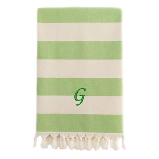 Authentic Cabana Stripe Pestemal Fouta Pistachio Green and Cream Original Turkish Cotton Bath/Beach Towel with Monogram Initial