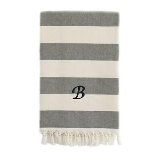 Authentic Cabana Stripe Pestemal Fouta Charcoal Black and Cream Original Turkish Cotton Bath/Beach Towel with Monogram Initial