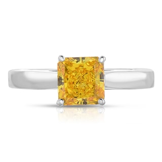 Solaura Collection 14k White Gold 1ct TW Lab-Grown Solitaire Diamond Ring (Fancy Yellow-SI2)