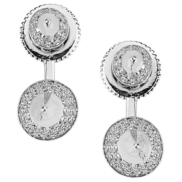 Plated Sterling Silver Cubic Zirconia Pave Spike Top and Bottom Earrings 17225121