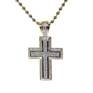 Sterling sliver 1/2ct TDW Diamond Cross Pendant ( GHJ, I2-I3)