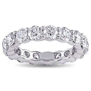 Miadora Signature Collection 18k White Gold 4ct TDW Diamond Eternity Ring (G-H, I1-I2)