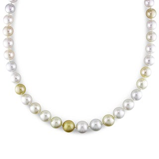 Miadora Signature Collection 14k Yellow Gold Cultured South Sea White and Gold Pearl Diamond Accent Strand Necklace (10-13 mm)