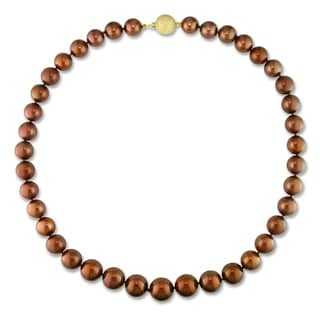 Miadora Signature Collection 14k Yellow Gold Tahitian Brown Pearl Strand Necklace (10-14 mm)