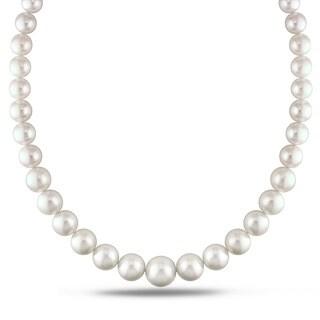 Miadora Signature Collection 14k White Gold Cultured South Sea White Pearl and Diamond Accent Strand Necklace (10-15.5 mm)