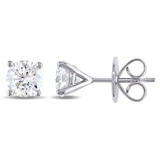 Miadora Signature Collection 18k White Gold 2ct TDW Certified Diamond Solitaire Stud Earrings (H-I, SI2) (IGI)