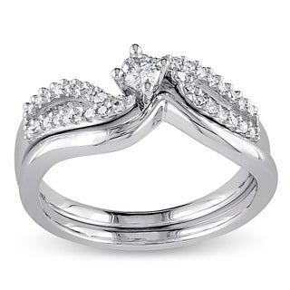 Miadora Sterling Silver 1/4ct TDW Diamond Bypass Bridal Ring Set (G-H, I2-I3)