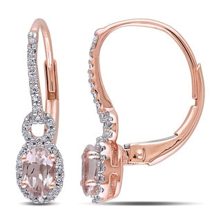 Miadora 10k Rose Gold Oval-cut Morganite and 1/6ct TDW Diamond Halo Earrings (G-H, I2-I3)