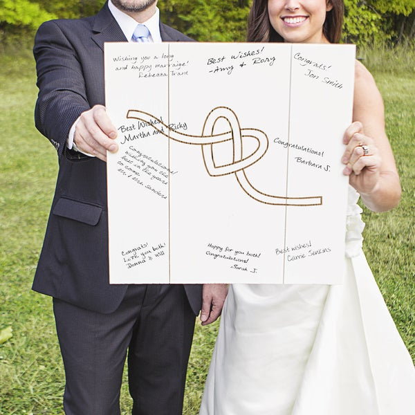 Tie the Knot Wood Art Guest Book