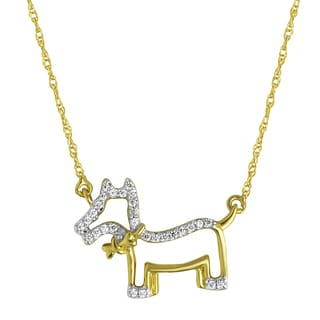 10k Yellow Goldplated Silver 1/10ct TDW Diamond Dog Pendant Necklace (H-I, I1-I2)