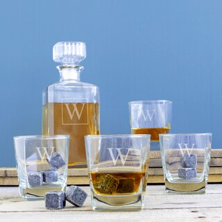 Personalized Decanter Set with Whiskey Soapstones