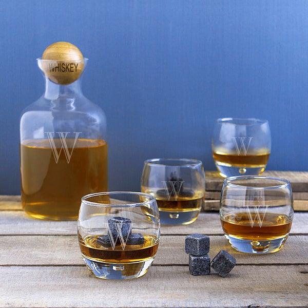 Whiskey Decanter with Wood Ball Set and Whiskey Soapstones