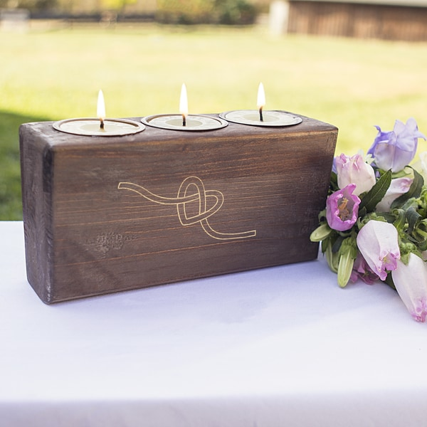 Tie the Knot Wood Sugar Mold Candle Holder