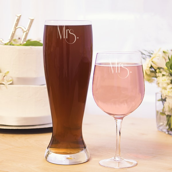 Mrs. and Mrs. Gatsby XL Beer and Wine Glass Set
