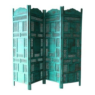 Porter Leela Teal Blue 4-panel Hand Painted Wooden Screen (India)