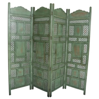 Wanderloot Leela Green 4-panel Hand-painted Wooden Screen (India)