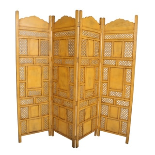 Wanderloot Leela Yellow 4-panel Hand-painted Wooden Screen (India)