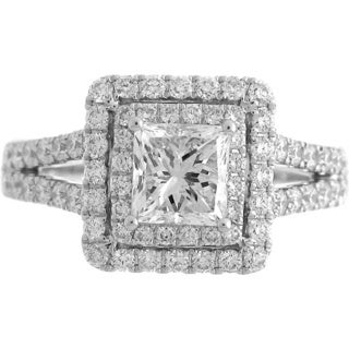 14k White Gold 1 7/8ct TDW Diamond Double Halo Princess Cut Engagement Ring (H-I, SI2)