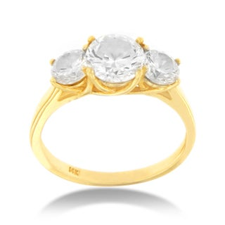 14k Yellow Gold 1/2ct TDW Round Classic Three-stone Diamond Ring (I-J, I3)