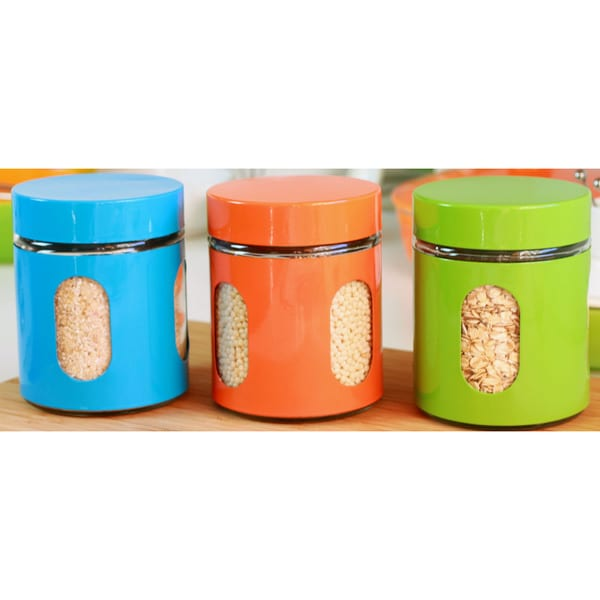 Glass Kitchen Canister Set of 3 - 5x3.75in,17oz/500ml
