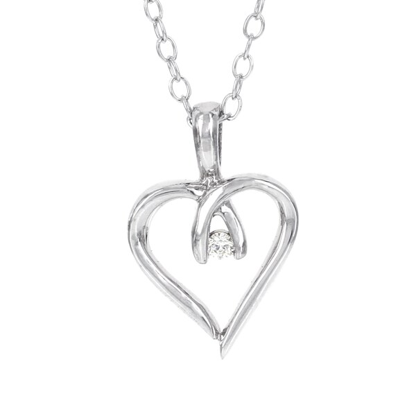 H Star Sterling Silver Diamond Accent Mini Heart Pendant (I-J, I-2, I-3)