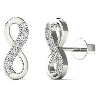 10k White Gold Diamond Accents Infinity Stud Earrings (H-I, I1-I2)