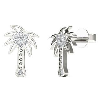 10k White Gold Diamond Accent Palm Tree Stud Earrings (H-I, I1-I2)