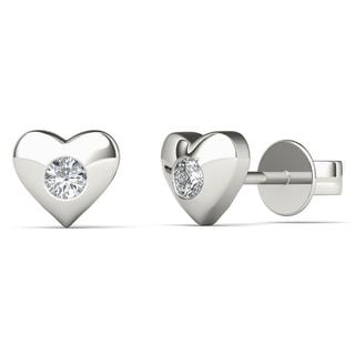 10k White Gold Diamond Accent Heart Shape Stud Earrings (H-I, I1-I2)