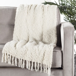 Ivory/White Polyester and Cotton Throw (50 x 60 inches)