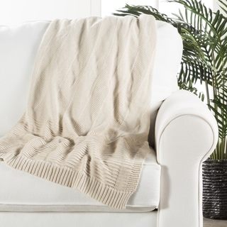 Ivory/White Cotton Throw (50 x 60 inches)