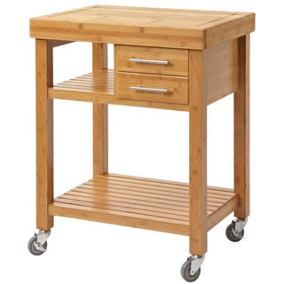 Mariko Bamboo Kitchen Cart, Solid Bamboo Top