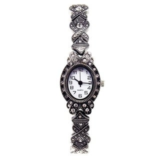 Victorian Style Marcasite Watch with Clear Crystals and Stretch Band