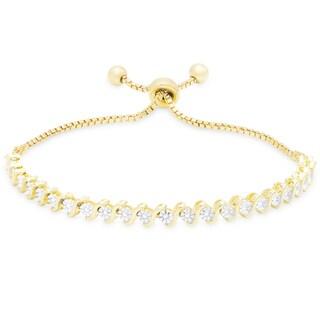 Finesque Gold Over Sterling Silver Diamond Accent Adjustable Slider Bracelet