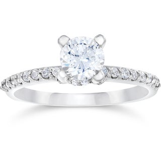 14k White Gold 1ct TDW Halo Engagement Diamond Ring (I-J,I2-I3)