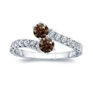 Auriya 14k Gold 3/4ct TDW Round-Cut Brown Diamond 4-prong 2-Stone Ring (Brown, I1-I2)