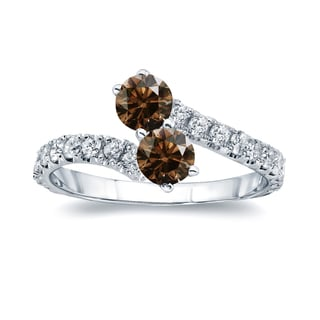Auriya 14k Gold 1 1/2ct TDW Round-Cut Brown Diamond 4-prong 2-Stone Ring (Brown, I1-I2)