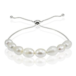 Glitzy Rocks Sterling Silver Freshwater Pearl Adjustable Bracelet (8 mm)