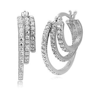 Icz Stonez Sterling Silver Cubic Zirconia 3-Row Hoop Earrings