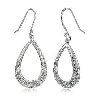 Icz Stonez Sterling Silver Cubic Zirconia Tear Drop Dangle Earrings