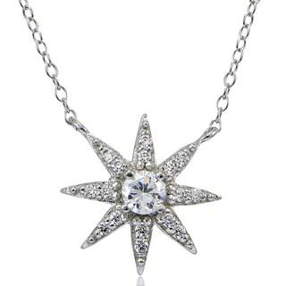 Icz Stonez Sterling Silver Cubic Zirconia Sunburst Necklace