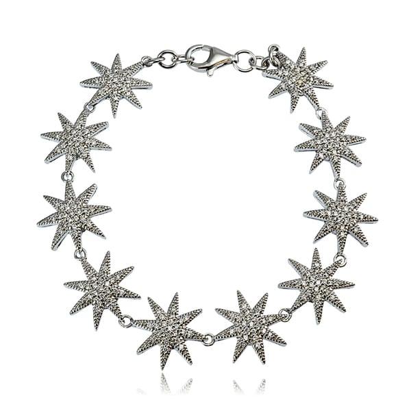 Icz Stonez Sterling Silver Cubic Zirconia Sunburst Link Bracelet