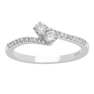 1/4ct Two Diamond Plus Pave Ring In White Gold (I-J, I1-I2)