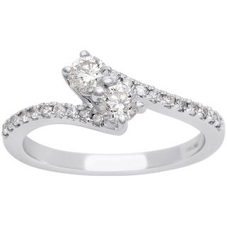 1/2ct Two Diamond Plus Pave Ring In 14K White Gold (I-J, I1-I2)