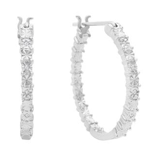 Diamond Accent Hoop Earrings In Sterling Silver, 3/4 Inch